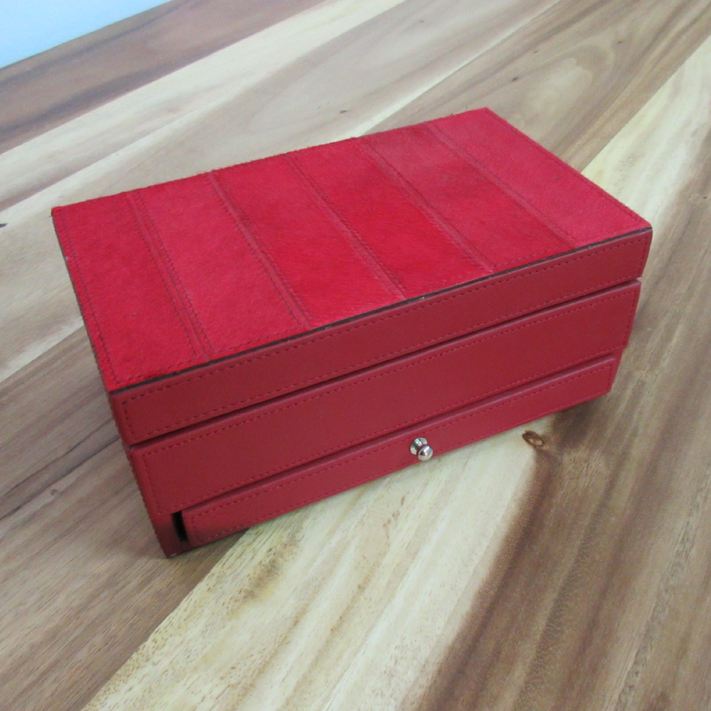 JEWELLERY BOX, RED LEATHER