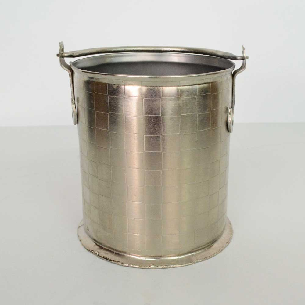 33   ETCHED PEWTER BUCKET, SMALL