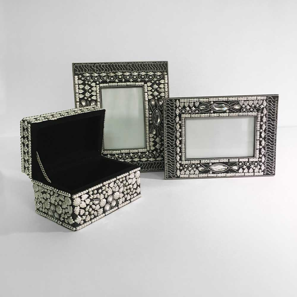 Jewelled photo frame, silver, large